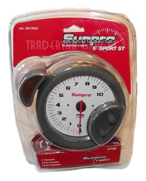 5 Inch Tachometer Sport ST White Dial Face Sunpro CP7902