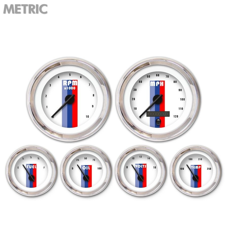 6 Ga. Set - Metric Vintage Autobahn Wht, Black Mod Nedl, Chrom Trm Rngs~ Kit DIY