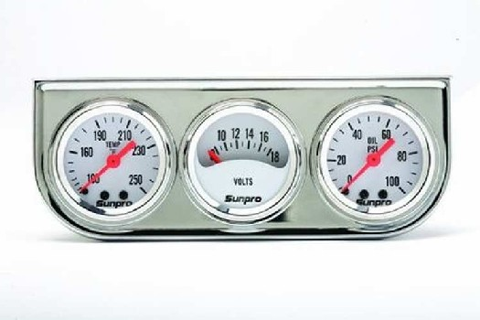 "1 1/2"" Mini Triple Gauge Kit White / Chrome Bezel CP8092"