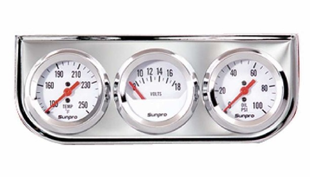 "2"" Mechanical Triple Gauge White / Chrome Bezel New Sunpro CP8208 Warranty"