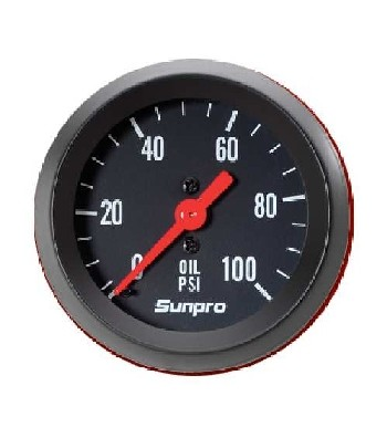 "2"" Mechanical Oil Pressure Gauge 0-100 PSI Black / Black Bezel New Sunpro CP8216"