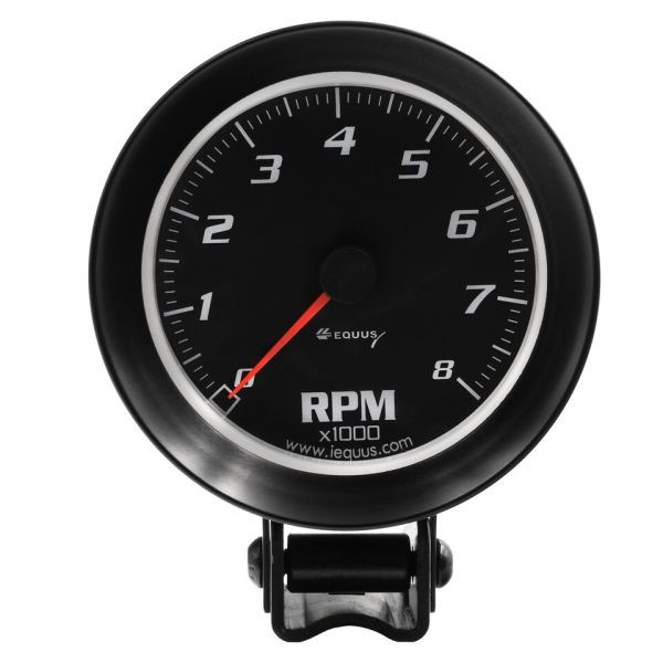 3-3/8 Inch Tachometer Black Faced  / Black Bezel Equus 6068 0-8000 RPM