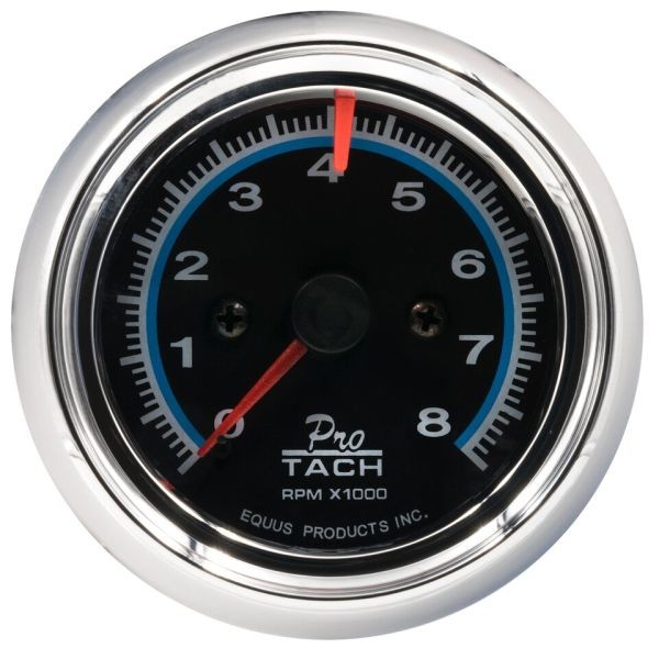 2-1/2 Inch Tachometer Black Faced / Chrome Bezel 0 - 8000 RPM Equus 6076
